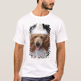 Golden Poodle Dog wearing a white clown costume T-Shirt
