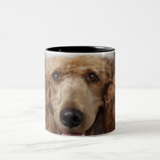 Golden Poodle Dog wearing a white clown costume Two-Tone Coffee Mug