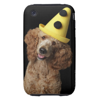 Golden Poodle Dog wearing a yellow clown hat iPhone 3 Tough Cover