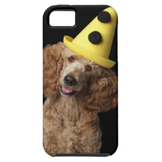 Golden Poodle Dog wearing a yellow clown hat iPhone SE/5/5s Case