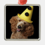 Golden Poodle Dog wearing a yellow clown hat Christmas Tree Ornaments