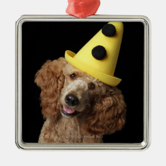 Golden Poodle Dog wearing a yellow clown hat Square Metal Christmas Ornament