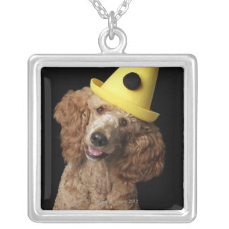 Golden Poodle Dog wearing a yellow clown hat Silver Plated Necklace