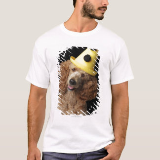 Golden Poodle Dog wearing a yellow clown hat T-Shirt