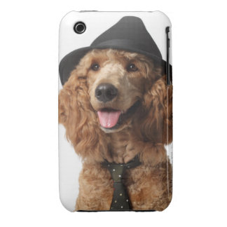 Golden Poodle Dog wearing Hat and Tie Case-Mate iPhone 3 Cases