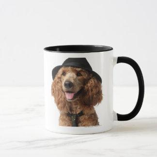 Golden Poodle Dog wearing Hat and Tie Mug