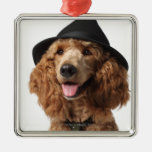 Golden Poodle Dog wearing Hat and Tie Square Metal Christmas Ornament