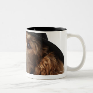 Golden Poodle Dog wearing Hat and Tie Two-Tone Coffee Mug