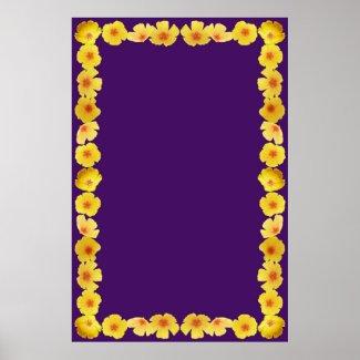 Golden Poppies Border on Purple Background Print