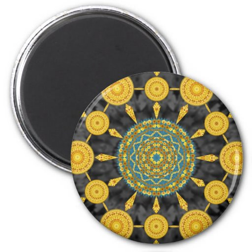 Golden Poppies Mandala Array Round Magnet