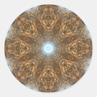 Golden Prairie Grass Kaleidoscope Classic Round Sticker