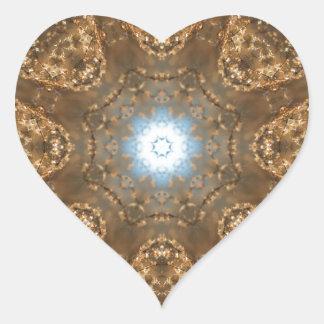 Golden Prairie Grass Kaleidoscope Heart Sticker
