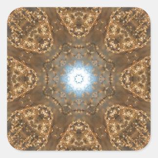 Golden Prairie Grass Kaleidoscope Square Sticker