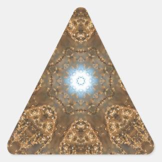 Golden Prairie Grass Kaleidoscope Triangle Sticker