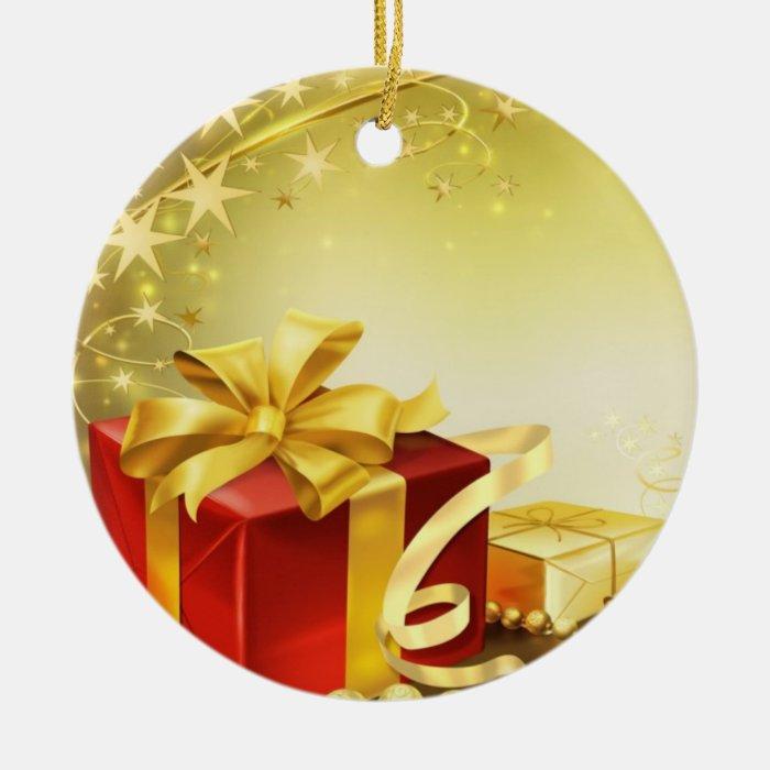 golden present ornament