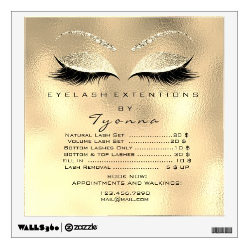 Golden Price List Eyes Makeup Lashes Extension Wall Decal