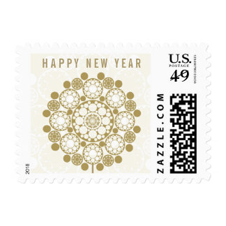 Golden Prosperous Blooms Business Holiday Stamps