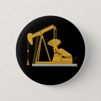 Golden Pumpjack Pinback Button