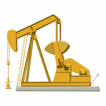 Golden Pumpjack Statuette