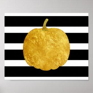 Golden Pumpkin Silhouette Poster
