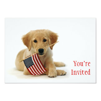 Golden Puppy and American Flag 5x7 Paper Invitation Card