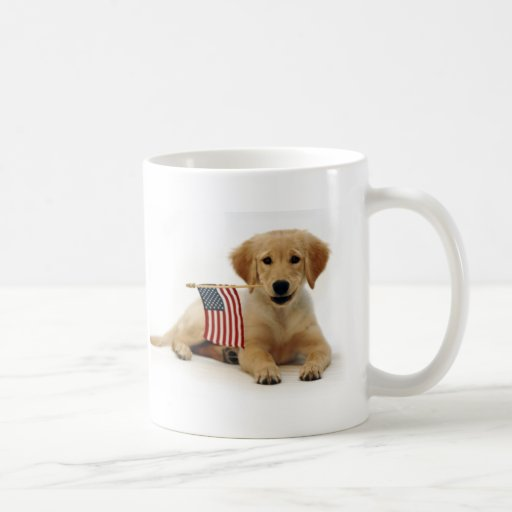 Golden Puppy and American Flag Coffee Mugs