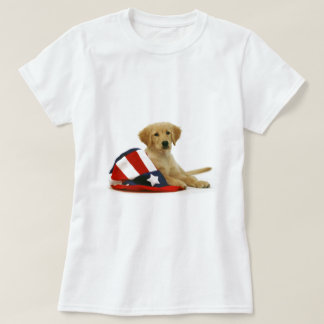 Golden Puppy and Uncle Sam Hat Shirt