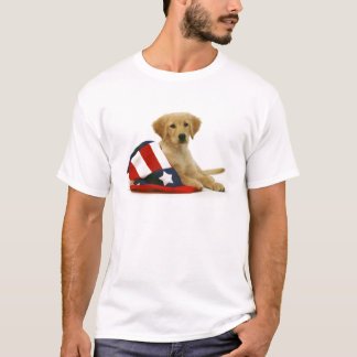 Golden Puppy and Uncle Sam Hat T-Shirt