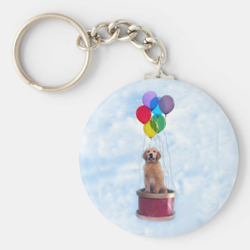 Golden Puppy Forever Young Keychain
