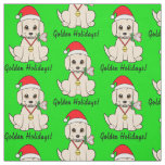 Golden Puppy in Santa Hat with Lollipop Fabric