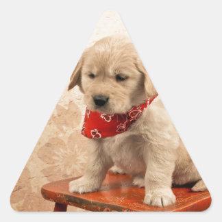 Golden Puppy on Chair Triangle Sticker
