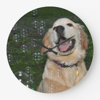 Golden Puppy with Bubbles Wall Clock