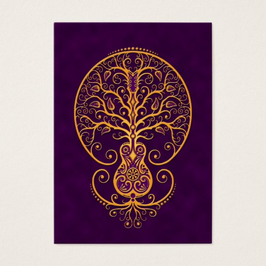 Golden Purple Guitar Tree of Life Business Card