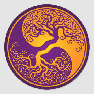 Golden Purple Tree of Life Yin Yang Classic Round Sticker