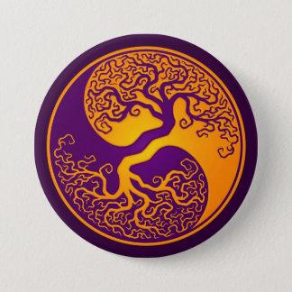 Golden Purple Tree of Life Yin Yang Pinback Button