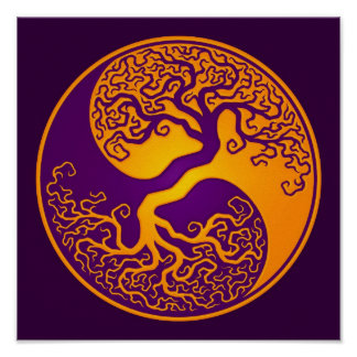 Golden Purple Tree of Life Yin Yang Poster
