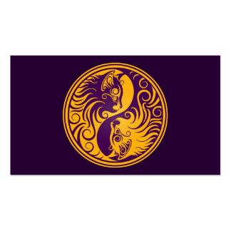 Golden Purple Yin Yang Cats Business Card