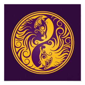 Golden Purple Yin Yang Cats Card