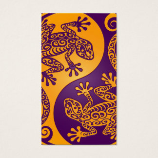 Golden Purple Yin Yang Lizards Business Card