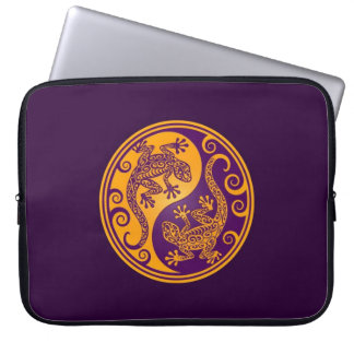 Golden Purple Yin Yang Lizards Laptop Sleeves