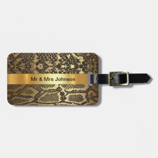 Golden Python Snake Skin Vip Luggage leather Luggage Tag
