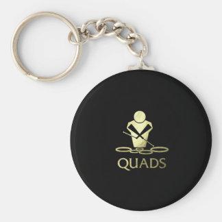 Golden Quads Basic Round Button Keychain