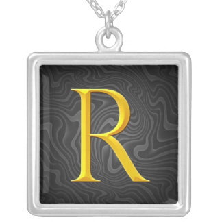 Golden R Monogram Personalized Necklace