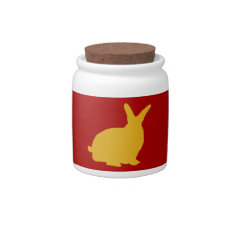 Golden Rabbits On Red Candy Jar at Zazzle