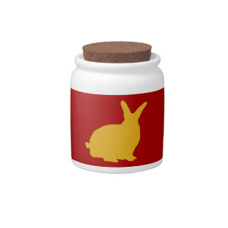 Golden Rabbits On Red Candy Jar