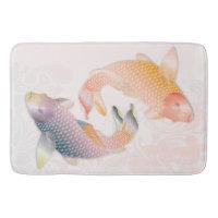 Golden & Rainbow Koi Fish on Pink Water - Bath Mat