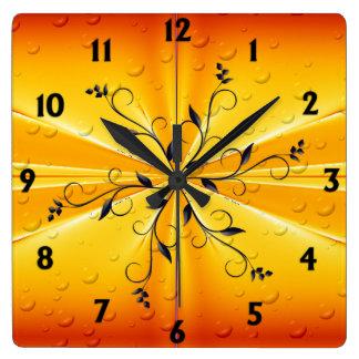 Golden Raindrops Square Wall Clock
