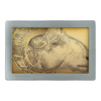 Golden Ram - Chinese New Year 2015 - Rectangular Belt Buckle