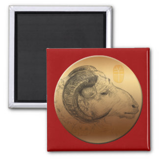 Golden Ram Chinese New Year of the Sheep 2015 2 Inch Square Magnet