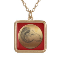 Golden Ram Chinese Year Astrology Zodiac Necklace